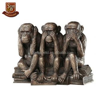 Cute Resin Custom Three Monkey Garden Statues Wholesale Polyresin Figurines