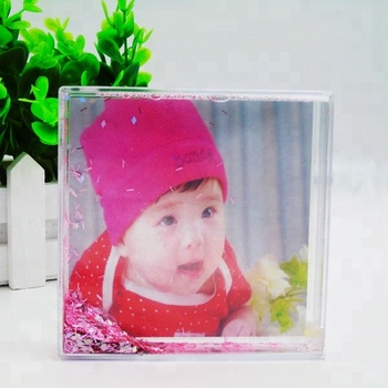 Baby Gift Clear Square Plastic Liquid Glitter Photo Picture Frame