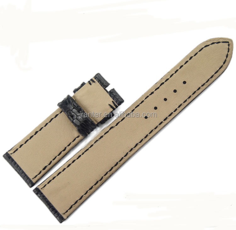 Jranter luxury real lizard skin for 20mm leather watch strap band