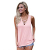 Women's Sleeveless Tank Top Basic Lace up Blouse