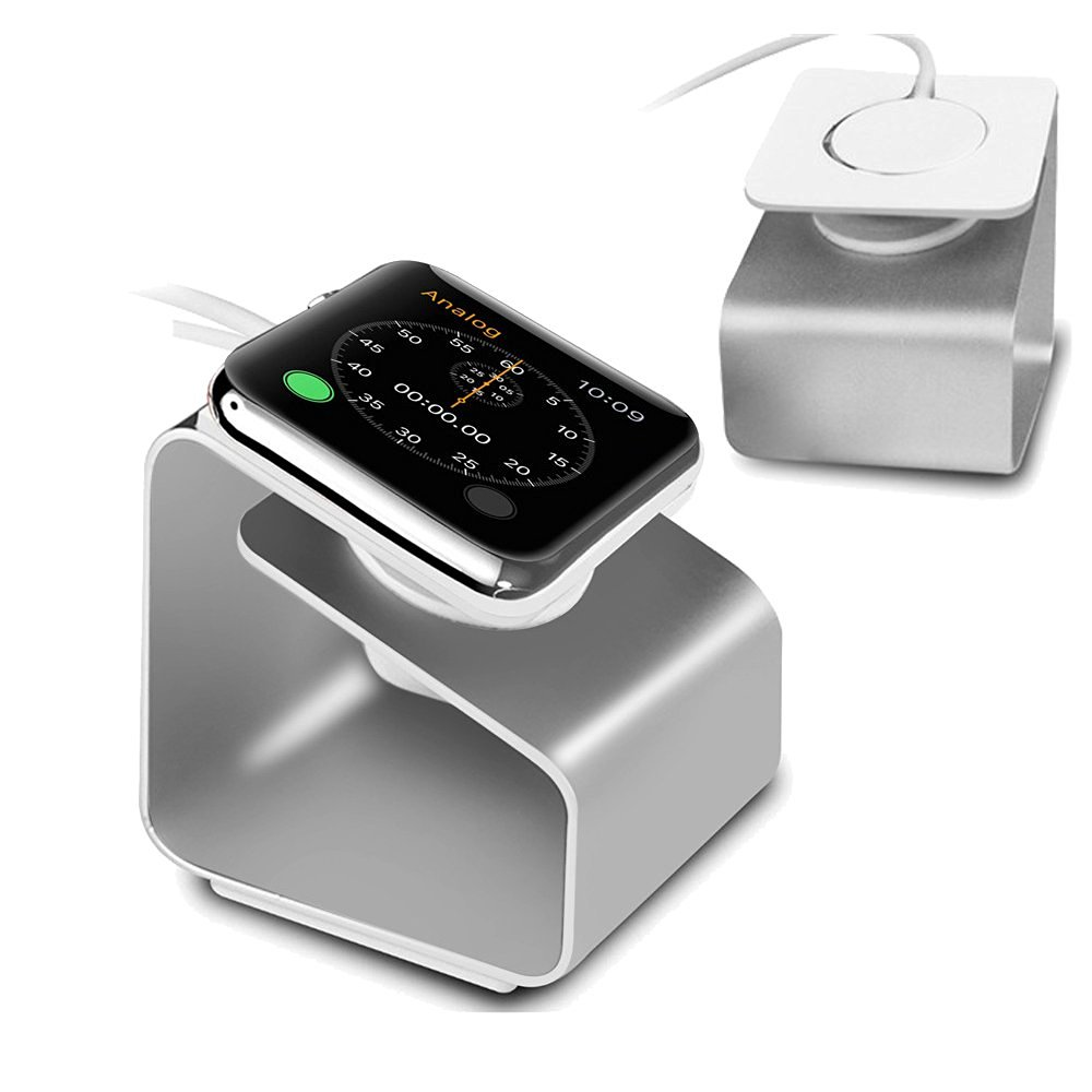 Apple Watch Stand, Pandawell™ Apple Watch Metal Charging Stand Bracket Docking Station Stock Cradle Holder for 42mm & 38mm Apple Watch/Sport/Edition (Silver)