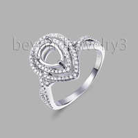 Semi Mount Ring Settings Pear Cut 6X8MM 14kt White Gold 0.44ct Diamond Engagement Rings 585 White Gold Gemstone Jewelry
