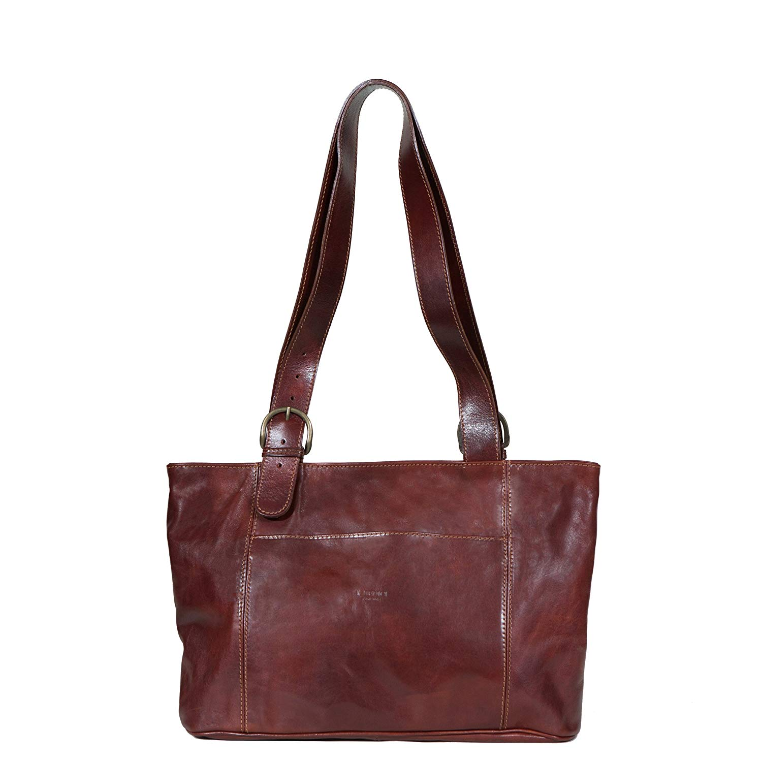 a49429b0155b Get Quotations · I Medici Firenze Borsa Italian Leather Large Shopping Tote  Bag in Brown