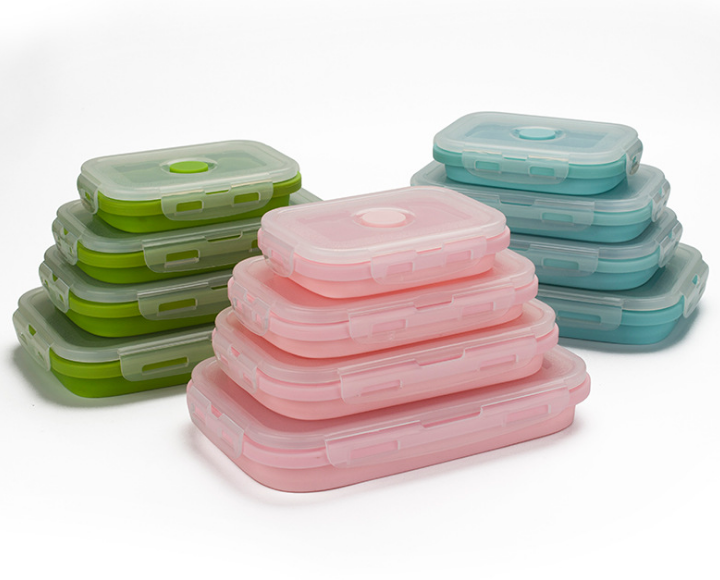Custom Hanchuan Siliconen Lunch Containers-Geen BPA & China Made-USSE containers Set van 4