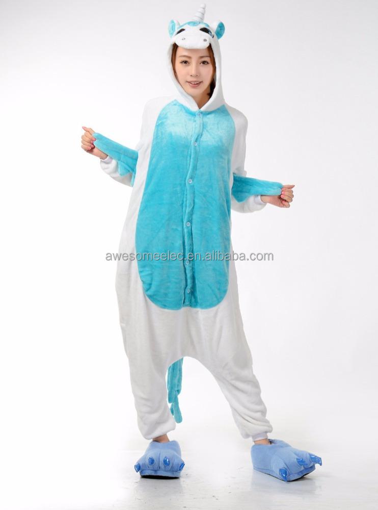 Взрослые дети Животных kigurumi Пижамы фланелевые костюм белье для сна зима  единорог ночные рубашки пижамы 5d67d53a4e619