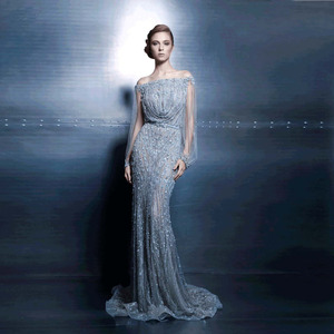 ZNK09 Boat Neck Heavy Beaded Party Gowns See Through Long Sleeve Customized Sexy Beads Diamond Evening Dress from Istanbul