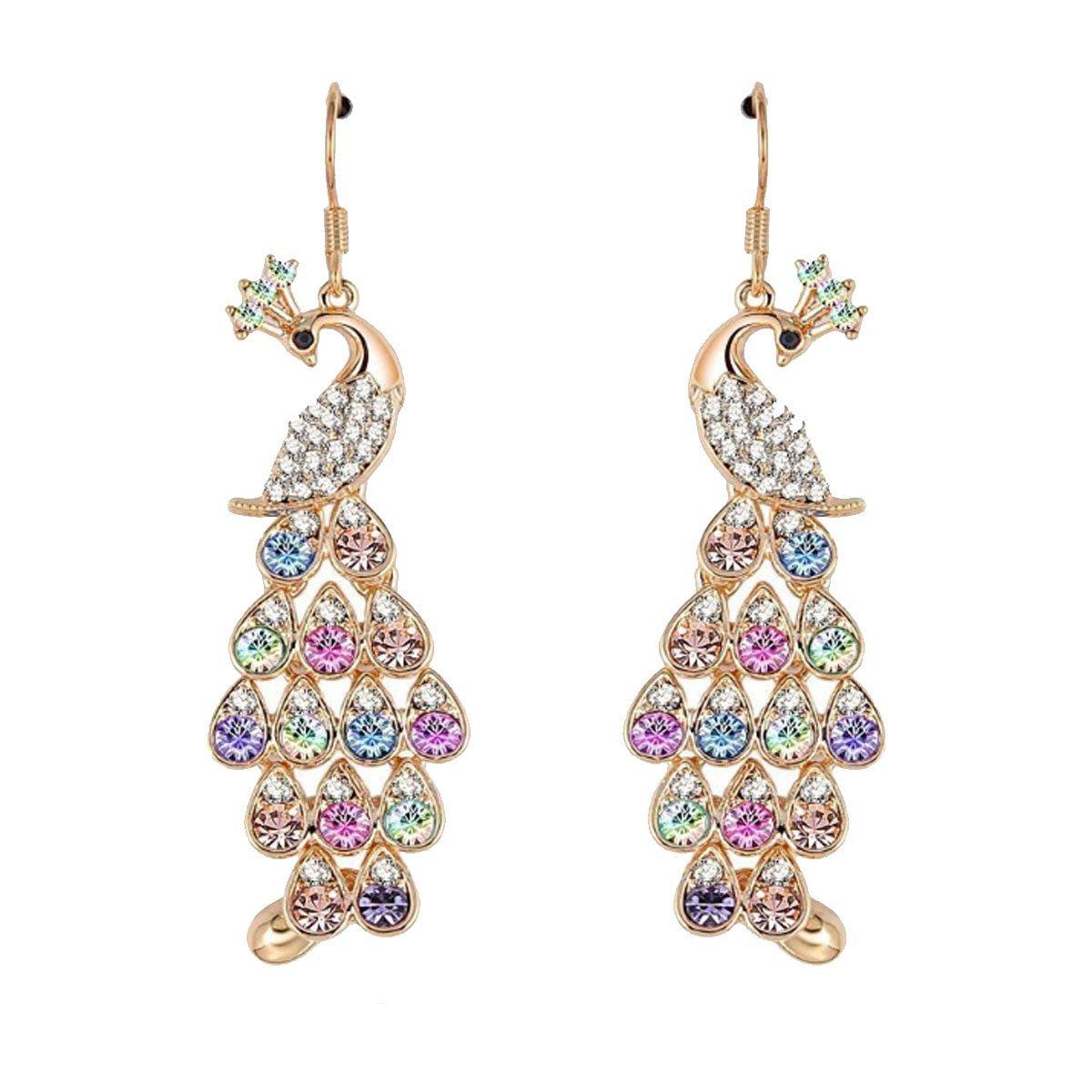 73fa32dcc88333 Get Quotations · Women Fashion Color Peacock Pendant Earrings Austrian  Crystal Jewelry (Women Jewelry, Wedding Earrings,