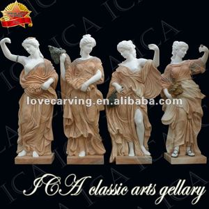 white marble and yellow marble mix four season marble statue price RF0020