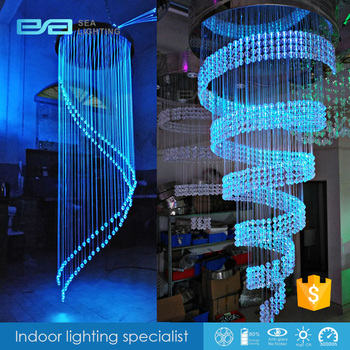 Residential Fiber Optic Lighting Taper Silk Ribbon Colourful Chandelier 2101694