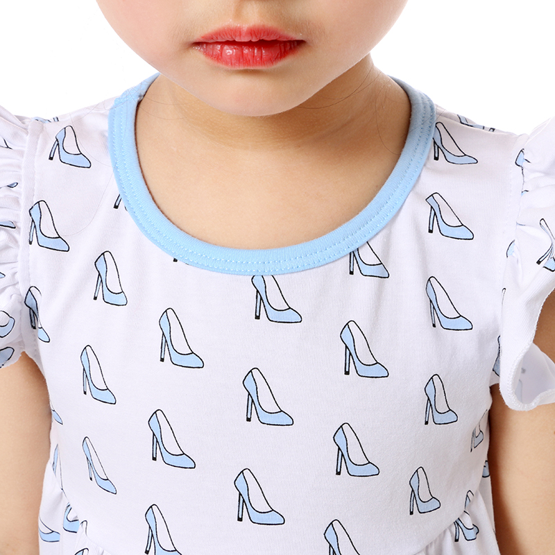 Children Cute Summer Clothing Cap Sleeve Printing Kids 95 Cotton 5 Spandex T shirts Wholesale