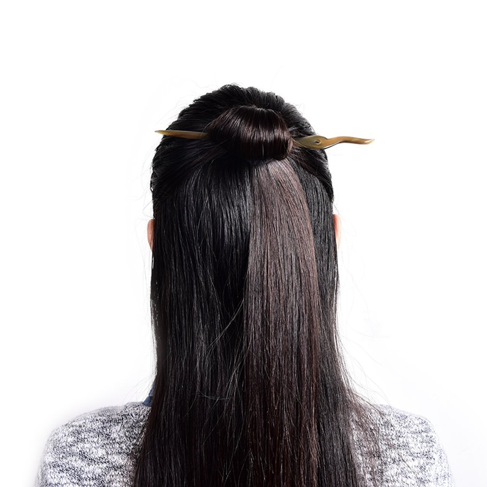 uhoMEy 1 pc Classic Hairpin, Chinese Style Original Retro Women Lady Hairpins, Classical Polished Horn Stick Hair Pin Headwears