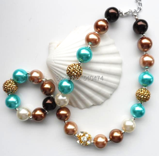 Cheap Pearl Necklace Sets: 2set/lot 2014 Wholesale Price ABS Pearl Chunky Necklace