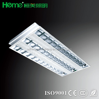 T8 Recessed Grille Lamp Lighting Fixture Lluorescent Light Troffer ...