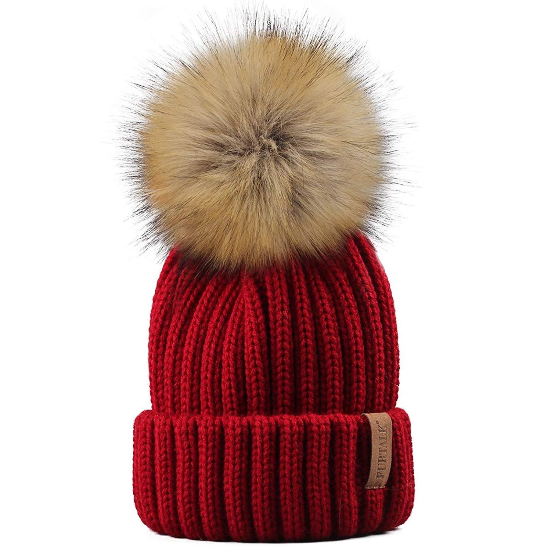 3ec34ea1741c5 Get Quotations · FURTALK Kids Winter Knitted Pom Faux Fur Ball Pom Pom Cap  Kids Beanie Hat (Ages