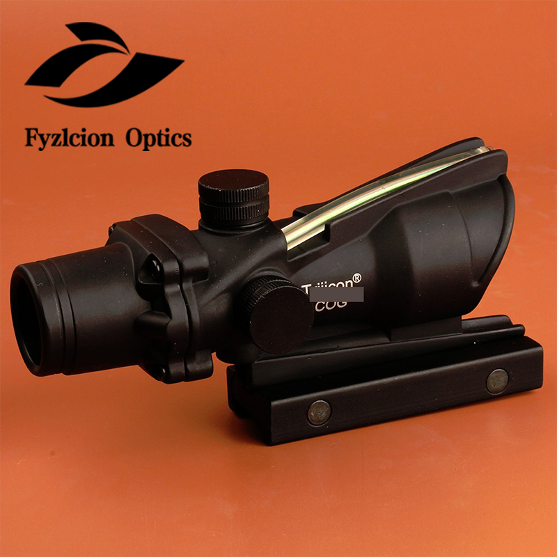 Fyzlcion Hunting Scope 1X32 Tactical Red Dot Sight Real Green Fiber Optic Riflescope with Picatinny Rail for M16 Rifle Airsoft