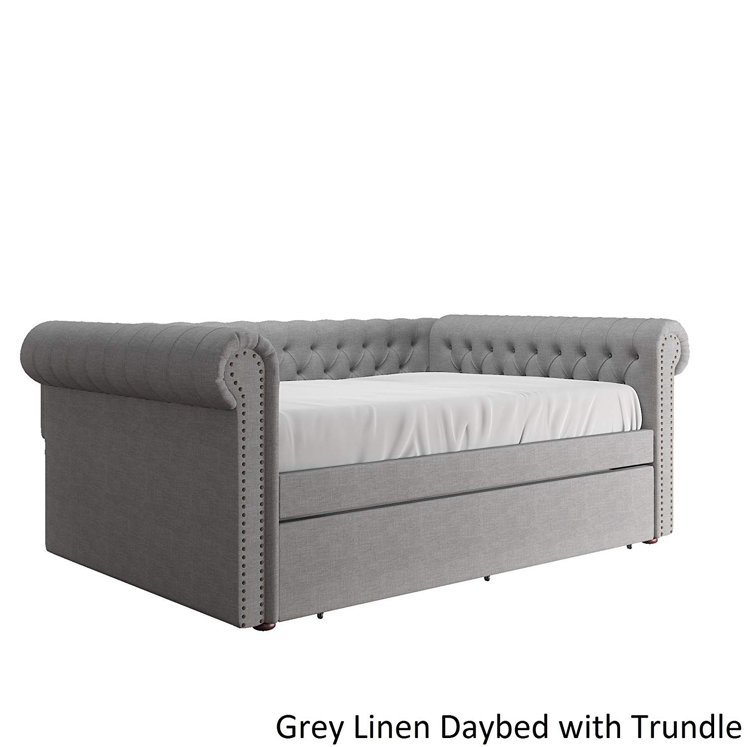 Transitional Style Knightsbridge Queen Size Tufted Scroll Arm Chesterfield Daybed Bronze Finish Nail Head Trim (Grey Linen Daybed WITH Twin - size Trundle)