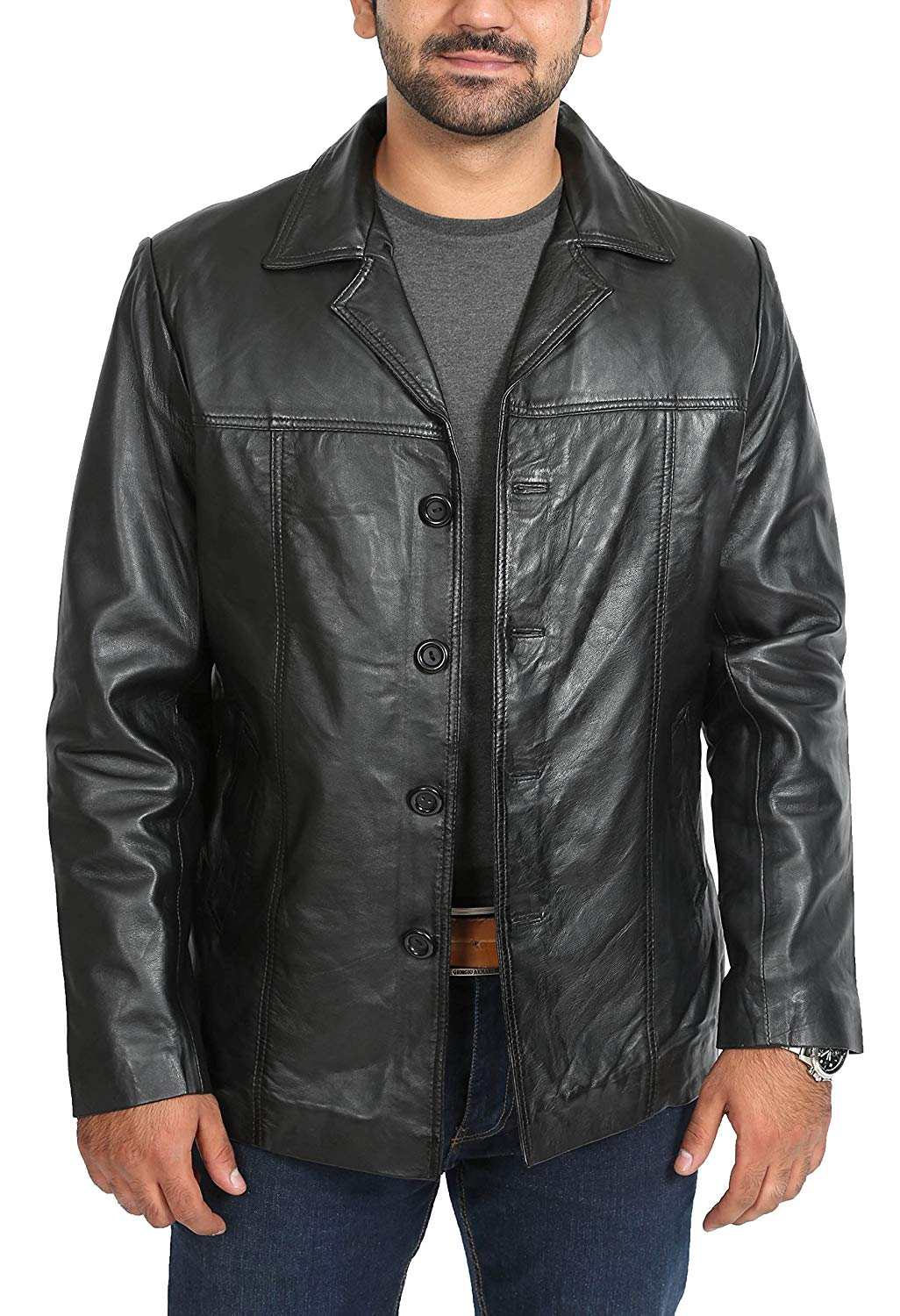 ba6b49e2f0484 Get Quotations · Mens Single Breasted Safari Reefer Button Box Leather  Jacket Thrill Black