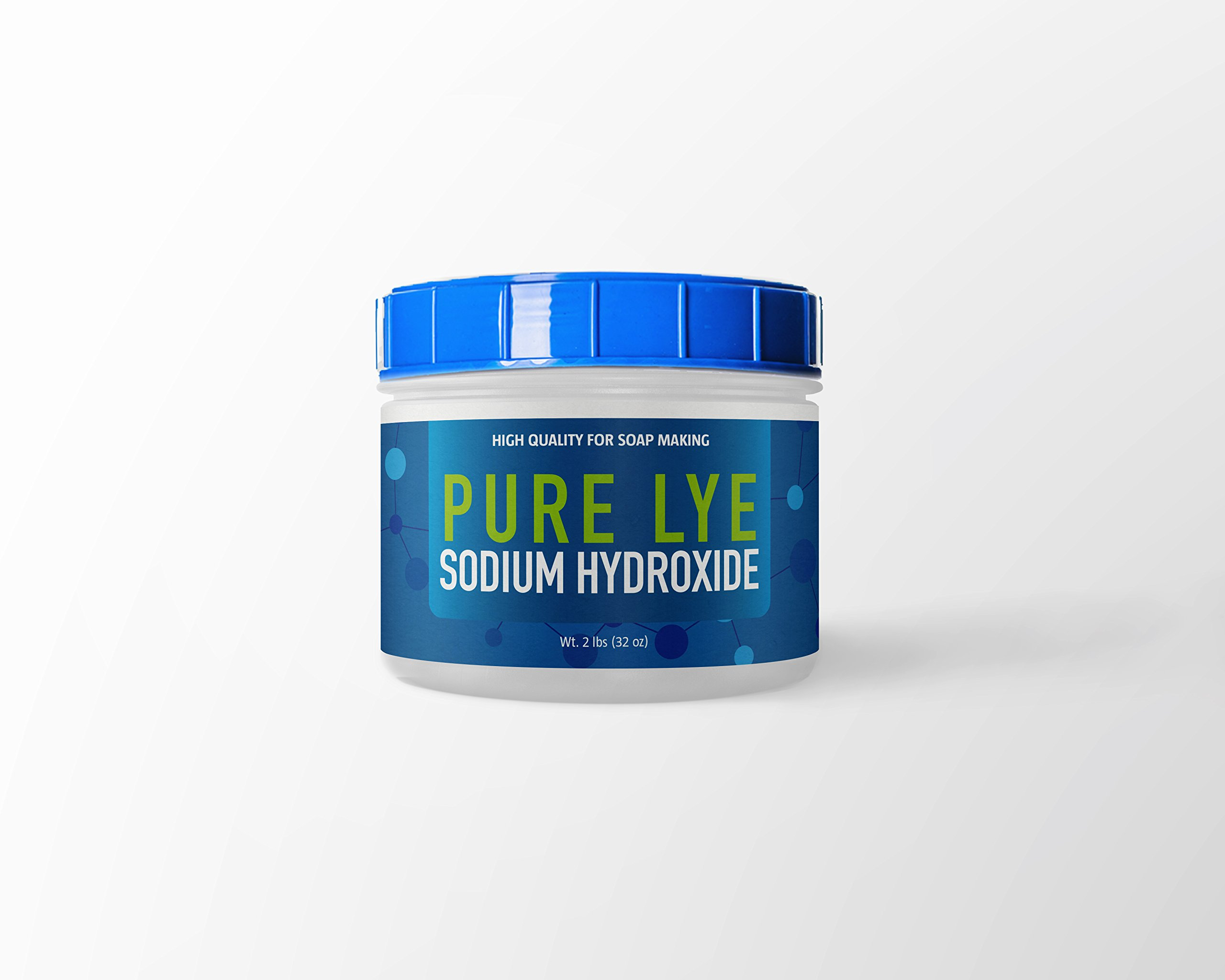 Lye (NaOH) (Sodium Hydroxide) (Caustic Soda) for Soap Making, 98.5% Pure,, Resealable Tub with Scoop, (2 lb (32 oz))