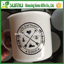 Customized Enamel Painting & Stainless Steel Rim Enamel Camping Mug Custom Enamel Mug