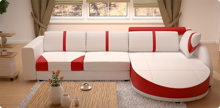 Contemporary Living Room Set In Black Red Or Cappuccino: White/Red,White/Black Sectional Living Room Sofa Set
