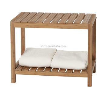 Großhandel Bambus Dusche Sitzbank Mit Ablageboden 100% Natürliche Bambus  Badezimmer Turm 2-regal Handtuch Lagerregal Regale Hot - Buy ...