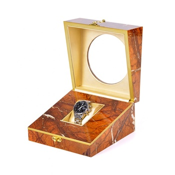 Unique design stone pattern wooden watch box with glass top