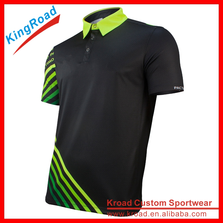 custom dye sublimated 100%polyester golf polo shirt green stripe golf shirts design