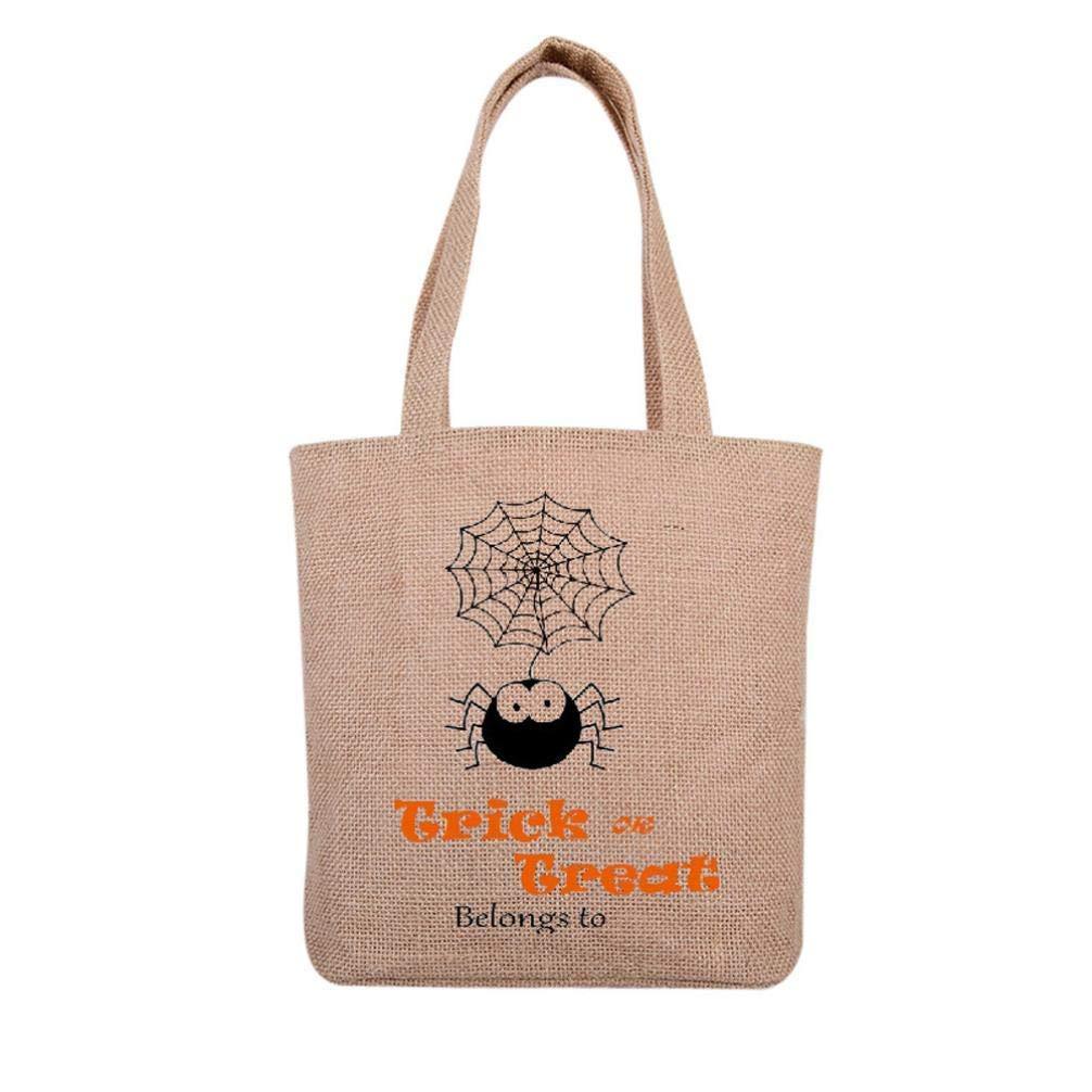 Leewa@ 4 Styles Halloween Children Candy Trick or Treat Bag, Gift Canvas Casual Tote Handbag Beach Shopping