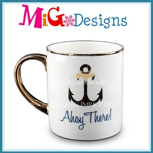 Direct Buy China Gold-Plated ceramic mug Ocean Style Design Can Customise Unglazed Ceramic Mug