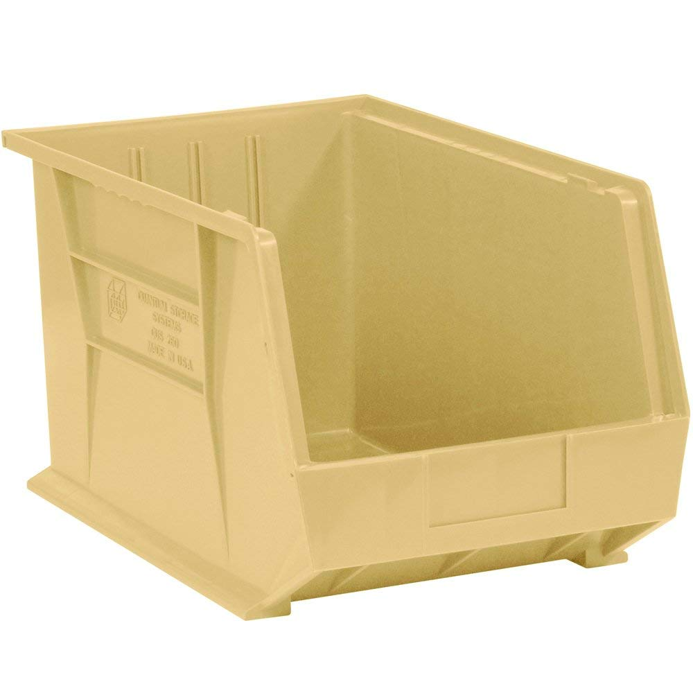 "Aviditi BINP1811V Plastic Stack and Hang Bin Boxes, 18"" x 11"" x 10"", Ivory (Pack of 4)"