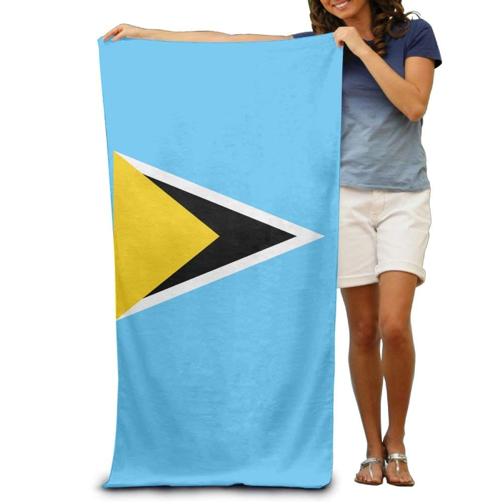 Flag Of Saint Lucia Adult Beach Towels Fast/Quick Dry Machine Washable Lightweight Absorbent Plush Multipurpose Use Quality Towels For Swim,Pool,Beach,Gym,Camping,Yoga