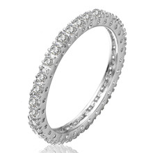 Latest design fashion white gold plated crystal wedding ring for women