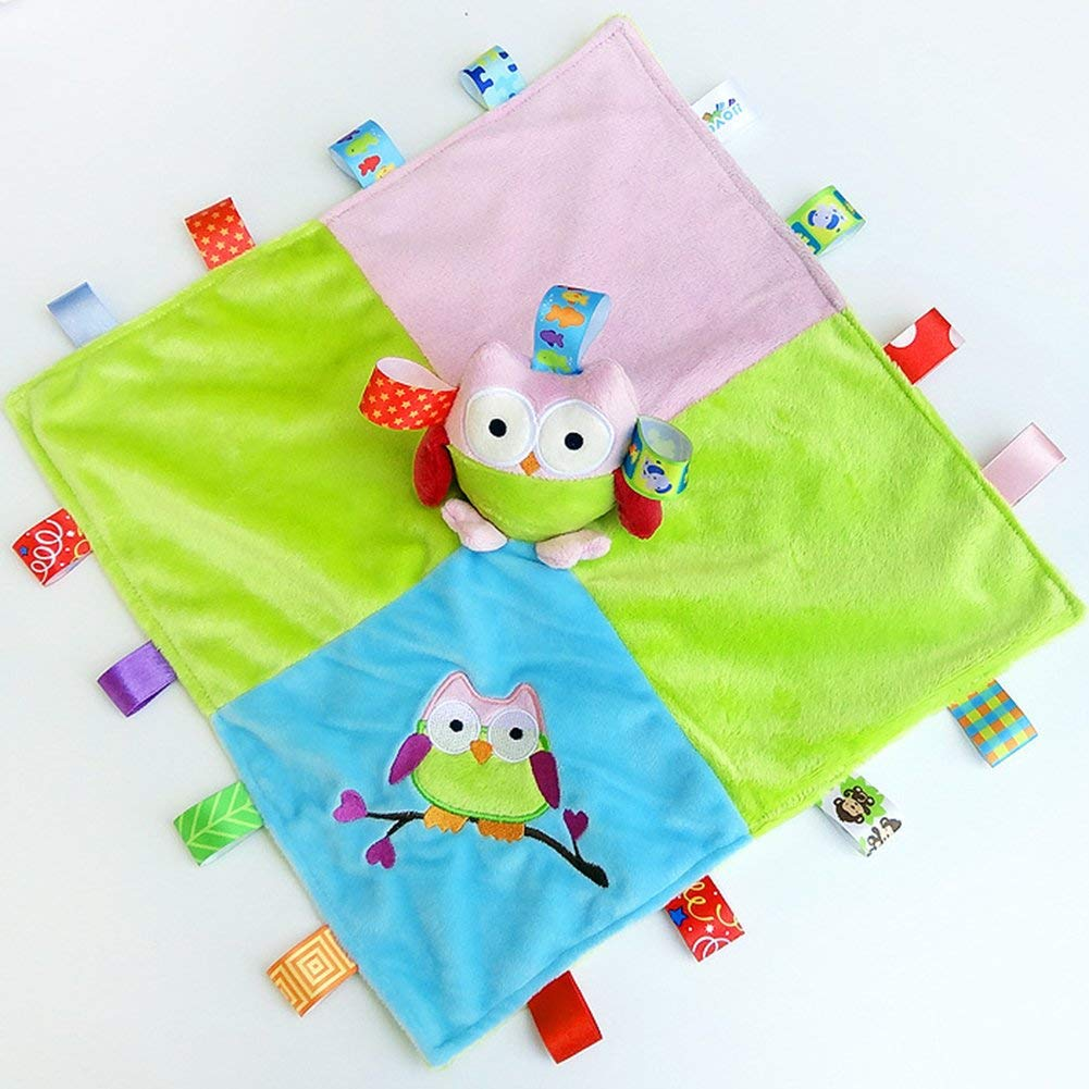 INCHANT Taggies Security Blanket - Soft Taggy Blankit Toy For Baby Boys & Girls - Lovey Plush Sensory Toy Soothes and Provides Security for Infants,Owl