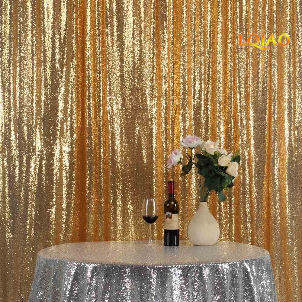 LQIAO Gold Sequin Backdrop 10ftx8ft photography backdrops wedding photo booth backdrop sequin curtain shimmer baby shower backdrop Halloween/Party/Curtain/Birthday/Halloween/Christmas