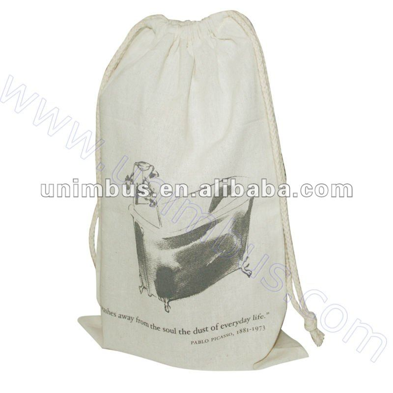plastic lined draw string cotton bag for cosmetic