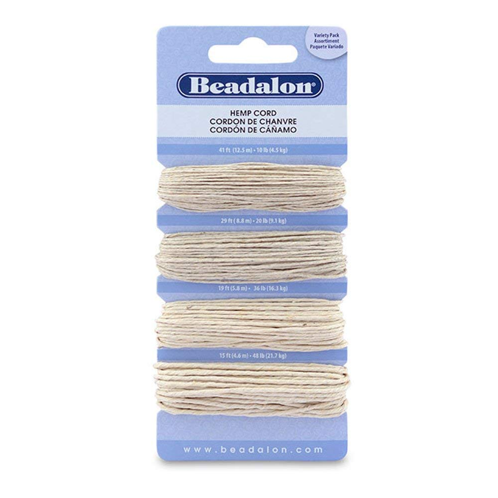Hemp Cord Variety Pack, Natural Color, 10# (41 ft, 12.5 m), 20# (29 ft, 8.8 m), 36# (19 ft, 5.8m), 48# (15 ft, 4.5m) 132Z-010
