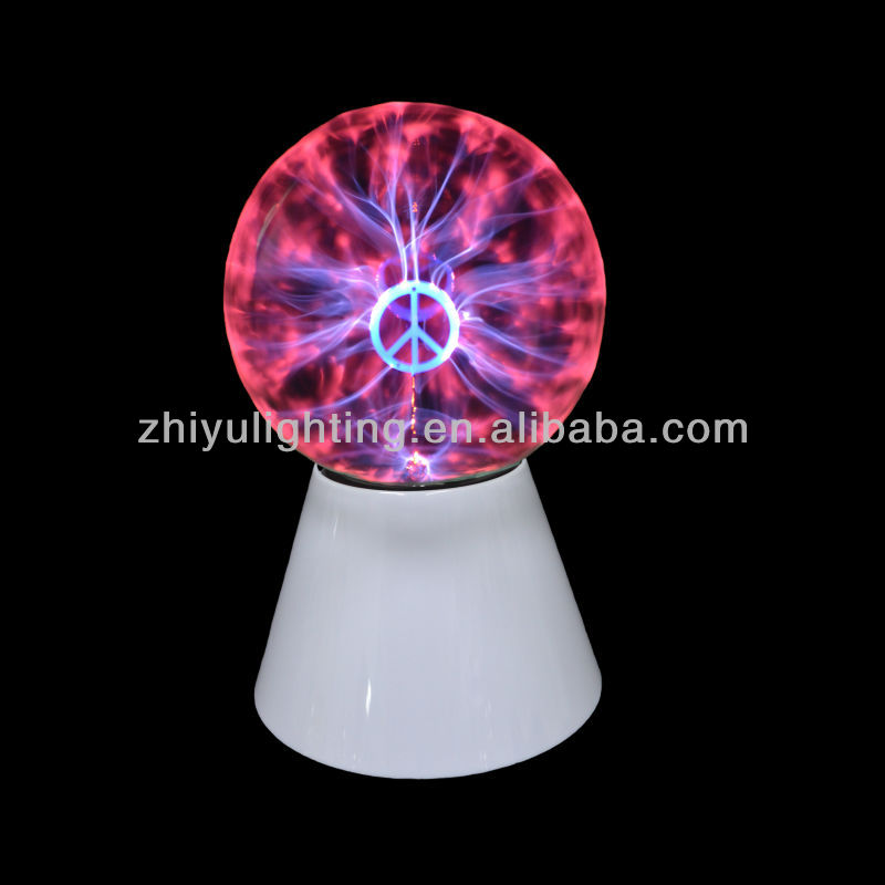 "Hot sell plasma light,magic lamp,5"" plasma ball with peace symbol"