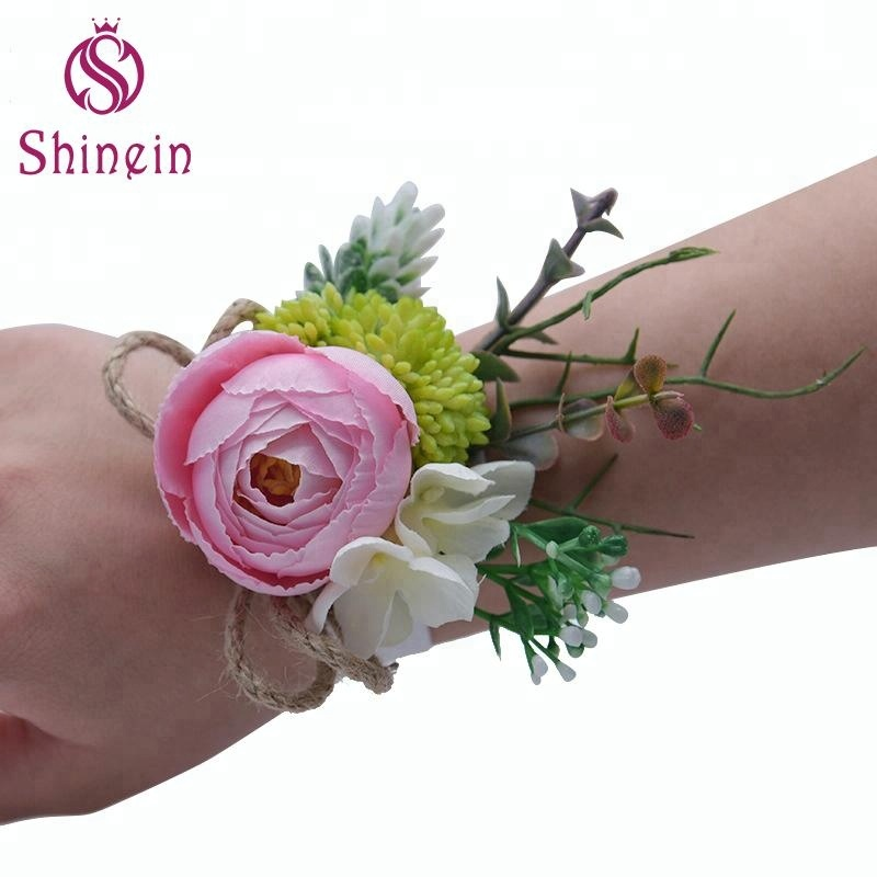 Multiple Colour Jute Rope Rose Artificial Flower Bridesmaid Bracelet For Wedding