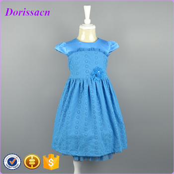 High Quality Best Blue Kids Beautiful Model Dresses Girl Dress Of 9 Years Old
