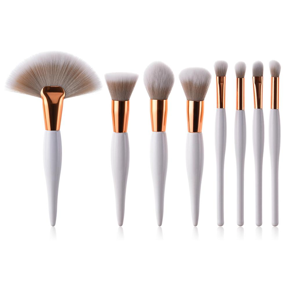 Beauty cosmetics highlight fan brush 8pcs unique wooden handle <strong>makeup</strong> brush set <strong>sample</strong>