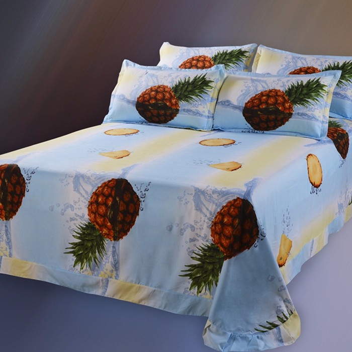 Double Size Blue And Yellow Bed Set Pineapple Duvet Cover