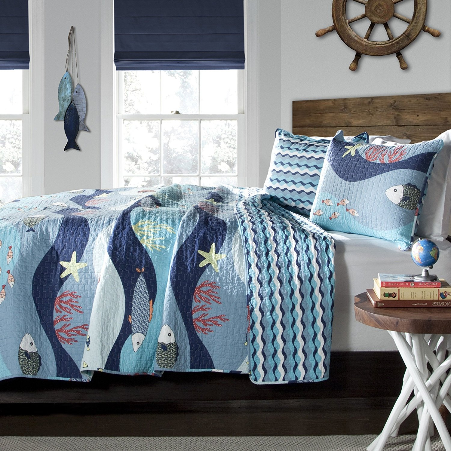 Kids Teens Full Queen 3 Piece Blue Multi Novelty Water World Sea Life Fish Star Quilt Set Attractive Luxurious Modern Beautiful Elegant Bedding Colorful Modern Fashionable Charming Bed Room Addition