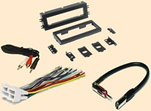Pontiac Montana 1999 - GMC Sonoma 2001 - Chevy corvette 1997 1998 1999 2000 2001 2002 2003 2004 - Chevoret Lumina 1996-2001 - Stereo wiring Harness, Dash Install Kit Faceplate, with FM Antenna Adaptor (Combo Complete Aftermarket Stereo Wire and Installation Kit)