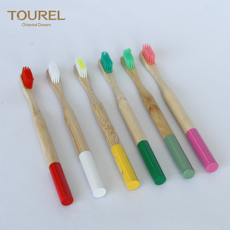 Custom logo eco-friendly natural biodegradable charcoal bamboo handle colorful whitening soft bristles bamboo toothbrush