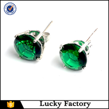 Perfect Green Zircon Cut Single Platinum Plated Stud Earrings Jewelry Gift