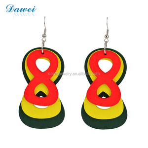 Cheap Price Wholesale Wood Main Material Number Eight Earrings