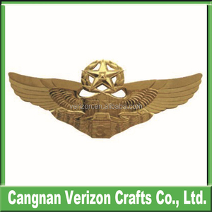 Custom Metal Pilot Wings Pin Badge With Different Designs, Metal Pin Badge  With Butterfly Clasp