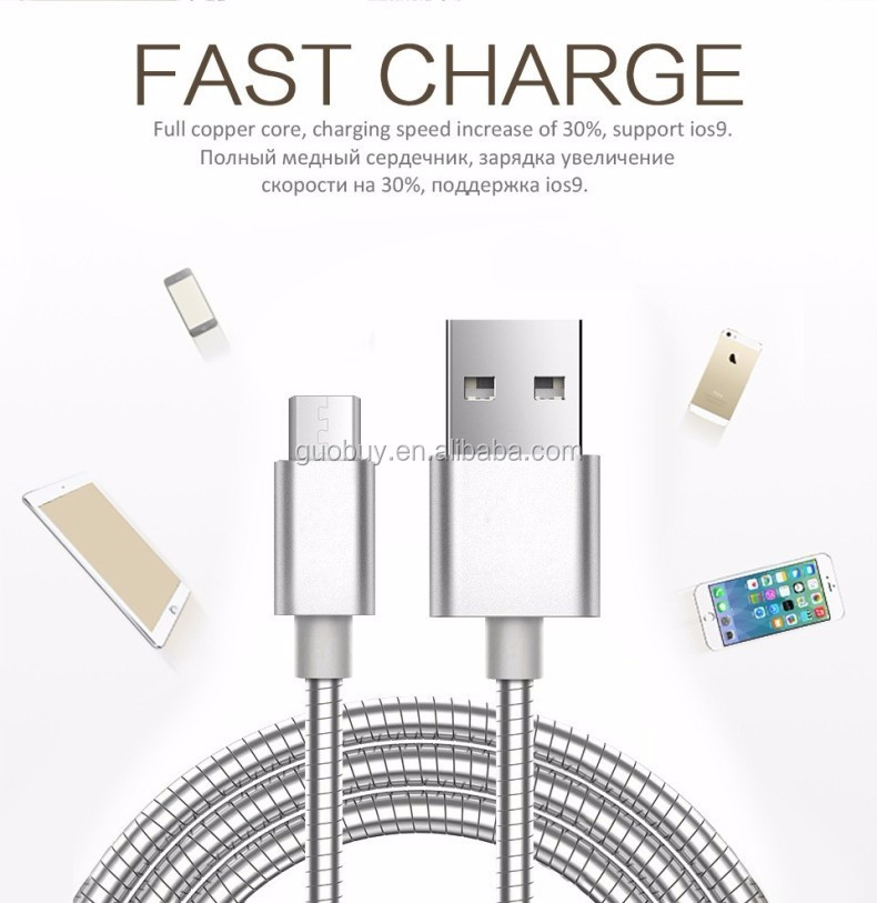 1m/3ft fast charging <strong>cable</strong> Luxury metal usb <strong>cable</strong> for iphone 7/7plus/6/6s/5s
