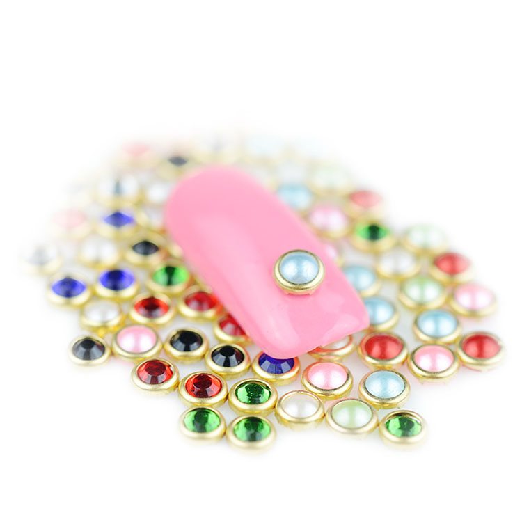 3d colorful charming pearls with metal rim christmas tree decoration nail art accessory