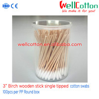 "3"" cotton swab/ Birch wooden stick single tipped 100pcs PP ROUND BOX packing"